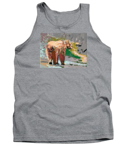 081914 Pastel Painting Grizzly Bear Tank Top