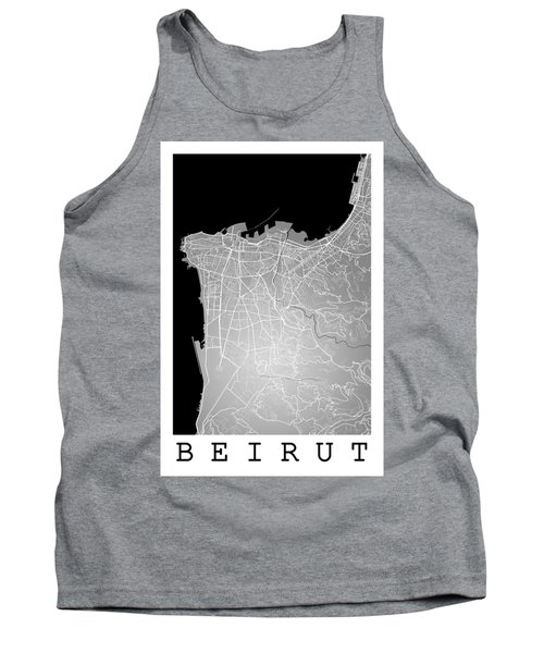 Beirut City Street Map - Beirut Lebanon Road Map Art On Color Tank Top