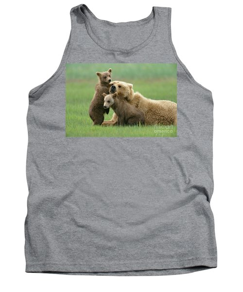 Grizzly Cubs Play With Mom Tank Top