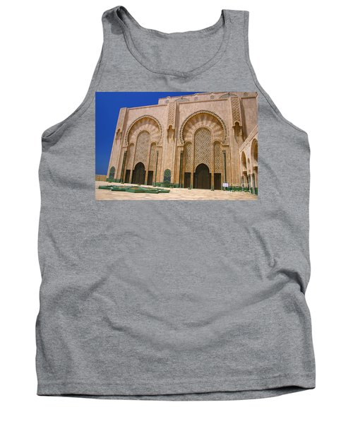 Tank Top featuring the photograph Hassan II Mosque Grand Mosque Sour Jdid Casablanca Morocco by Ralph A  Ledergerber-Photography