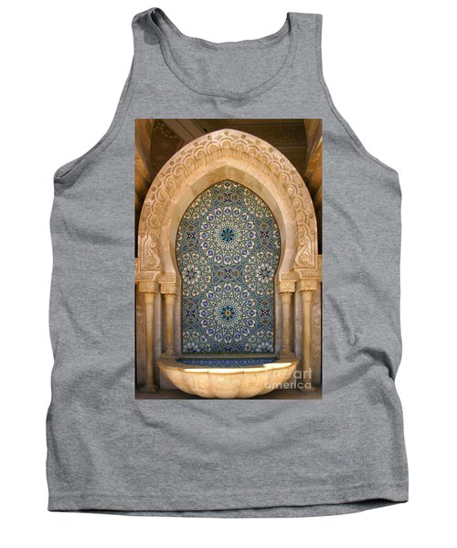 Tank Top featuring the photograph Holy Water Fountain Hassan II Mosque Sour Jdid Casablanca Morocco  by Ralph A  Ledergerber-Photography