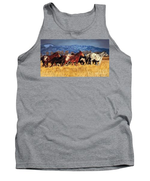 Tank Top featuring the painting Joe's Horses by Tim Gilliland