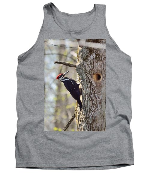Tank Top featuring the photograph Male Pileated Woodpecker by David Porteus