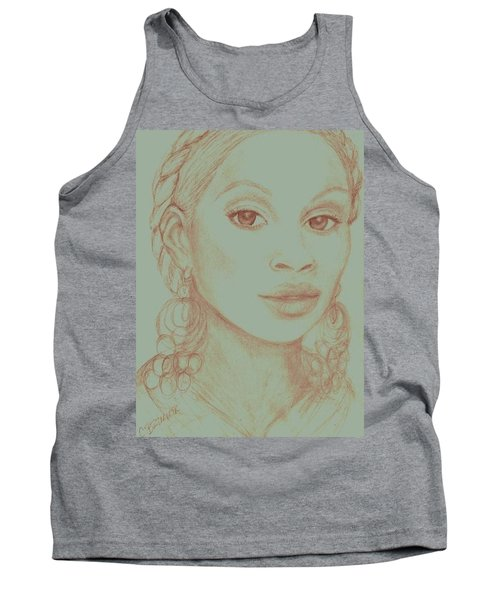 Tank Top featuring the drawing Mary J Blige by Christy Saunders Church