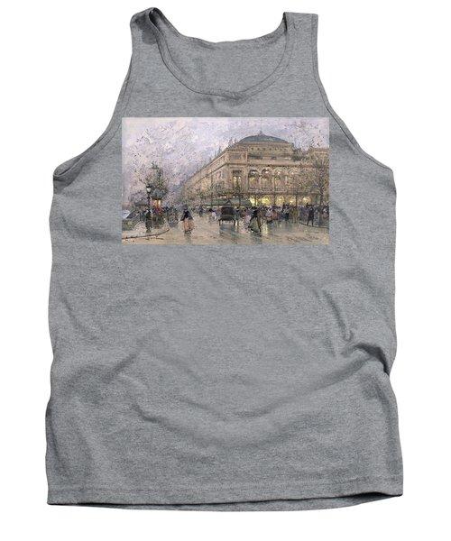 Parisian Street Scene Tank Top by Eugene Galien-Laloue