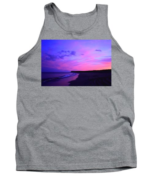 Pink Sky And Beach Tank Top