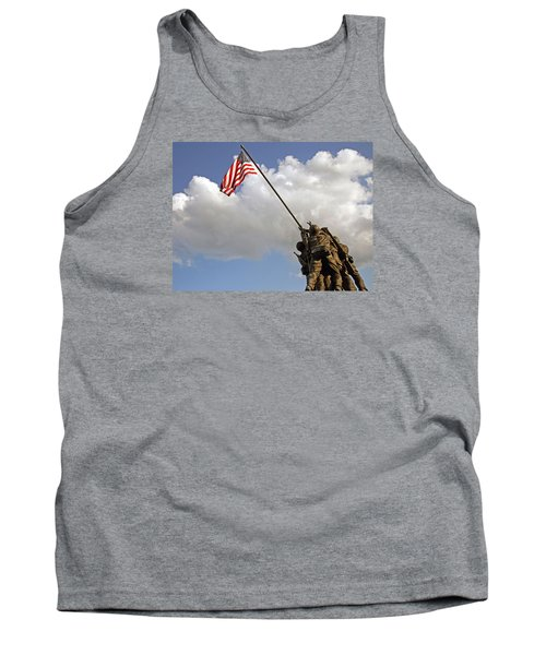 Tank Top featuring the photograph Raising The American Flag by Cora Wandel