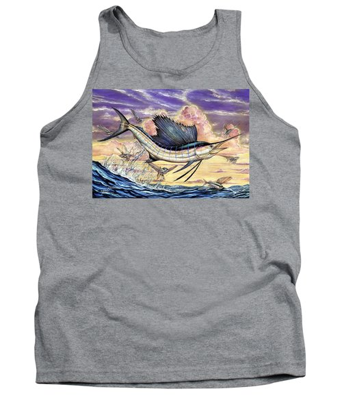 Sailfish And Flying Fish In The Sunset Tank Top