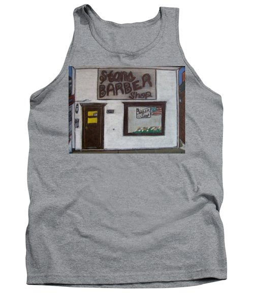 Tank Top featuring the mixed media Stans Barber Shop Menominee by Jonathon Hansen
