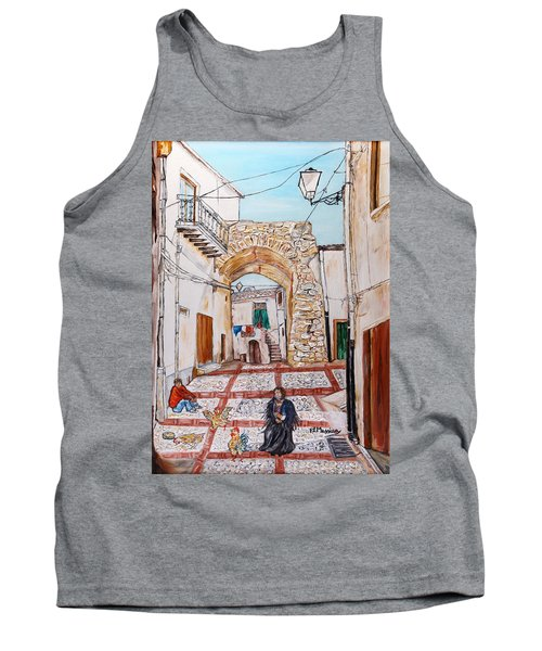 Tank Top featuring the painting Sutera Rabato Antico by Loredana Messina