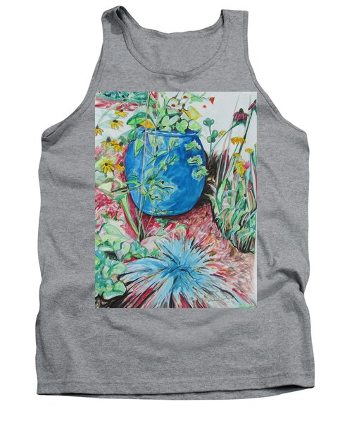 Tank Top featuring the painting The Blue Flower Pot by Esther Newman-Cohen