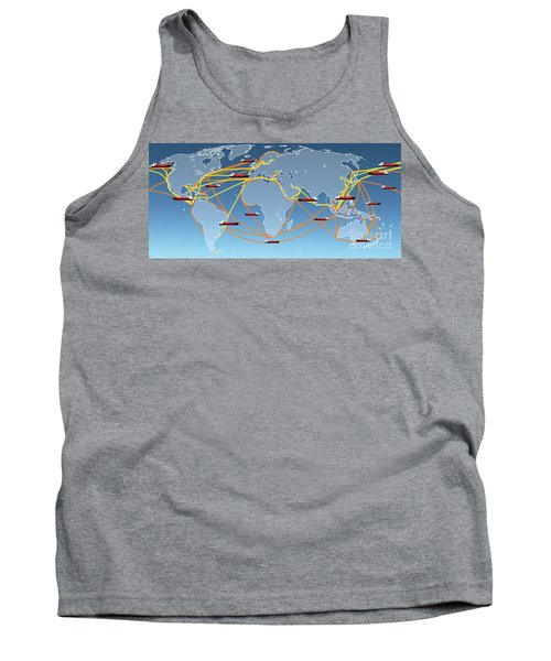 World Shipping Routes Map Tank Top