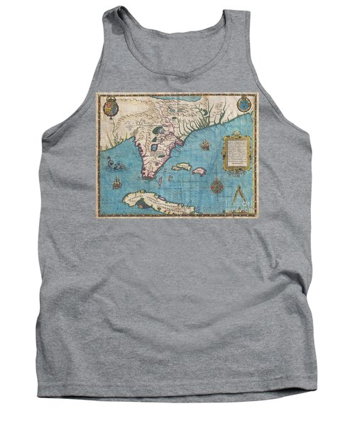 1591 De Bry And Le Moyne Map Of Florida And Cuba Tank Top