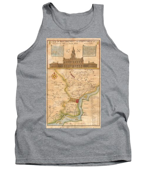 1752  Scull  Heap Map Of Philadelphia And Environs Tank Top