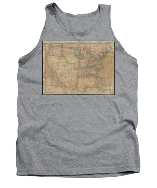 1839 Burr Wall Map Of The United States  Tank Top