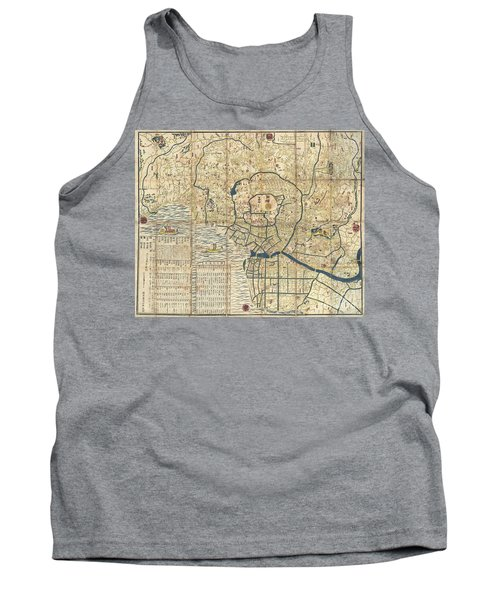 1849 Japanese Map Of Edo Or Tokyo Tank Top by Paul Fearn