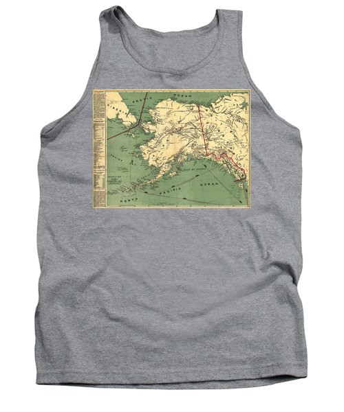 Tank Top featuring the photograph 1897 Map Of Alaska by Charles Beeler