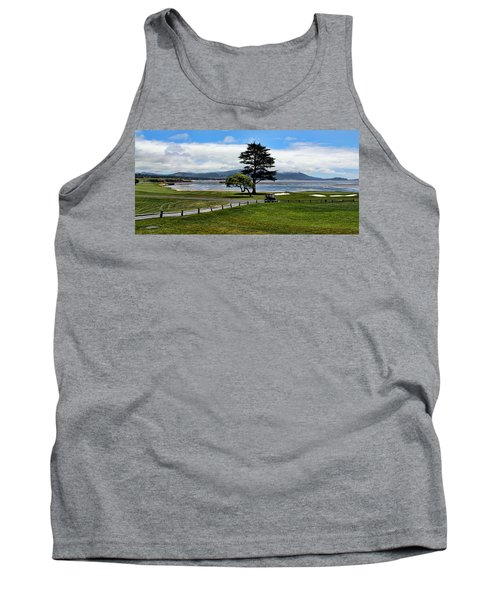 18th At Pebble Beach Panorama Tank Top by Judy Vincent