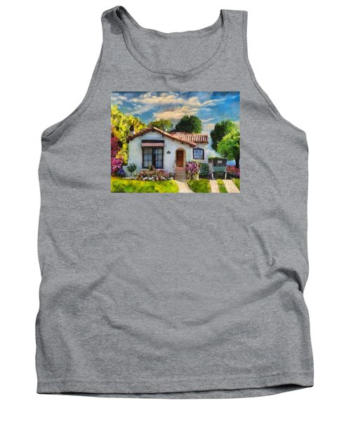 Tank Top featuring the mixed media Alameda 1932  Spanish Beauty by Linda Weinstock