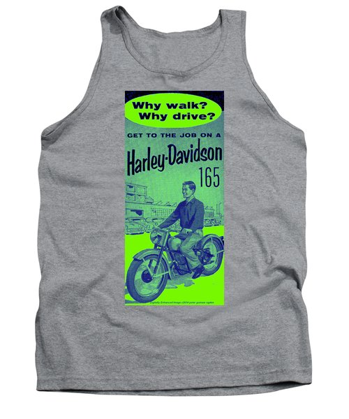 Tank Top featuring the digital art 1954 Harley Davidson 165 Ad by Peter Gumaer Ogden
