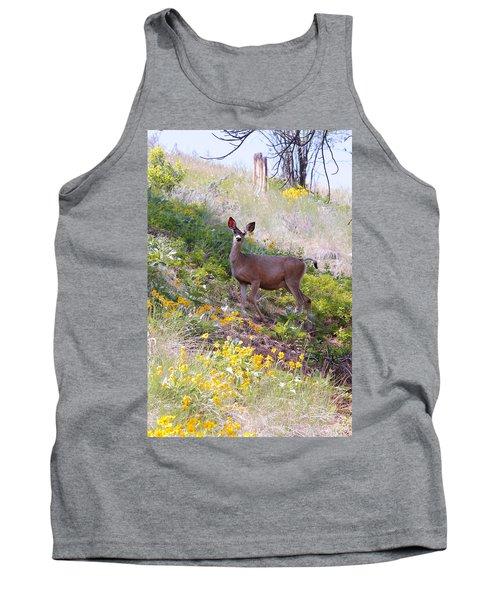 Deer In Wildflowers Tank Top by Athena Mckinzie