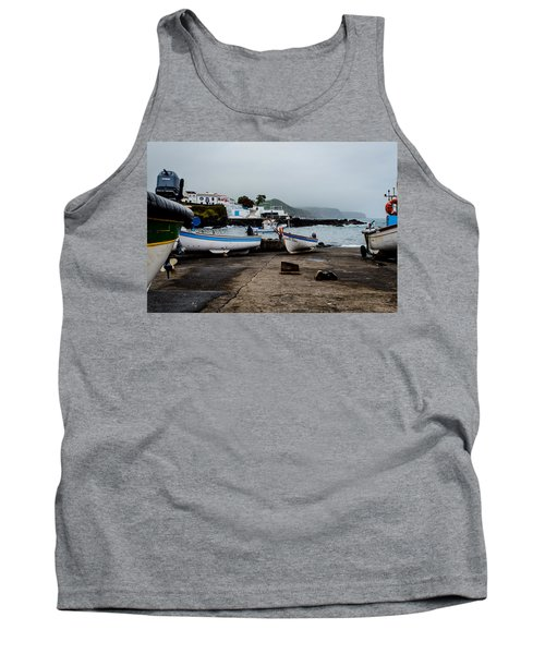 Fishing Boats On Wharf With View Of Houses  Tank Top