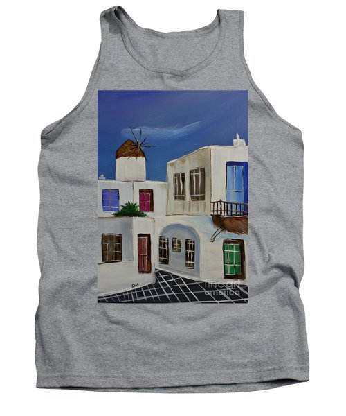 Tank Top featuring the painting Greek Village by Janice Rae Pariza