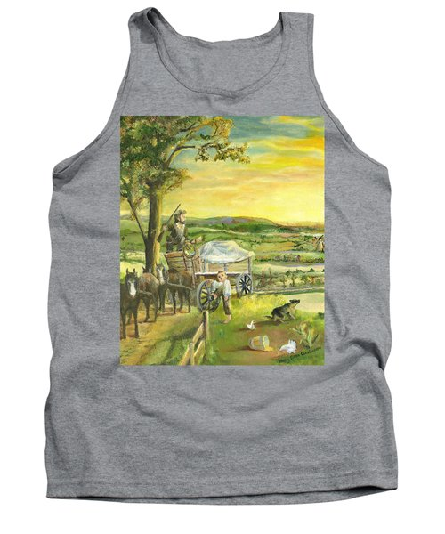 Tank Top featuring the painting The Farm Boy And The Roads That Connect Us by Mary Ellen Anderson