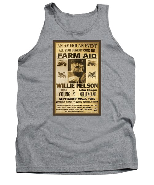 Vintage Willie Nelson 1985 Farm Aid Poster Tank Top