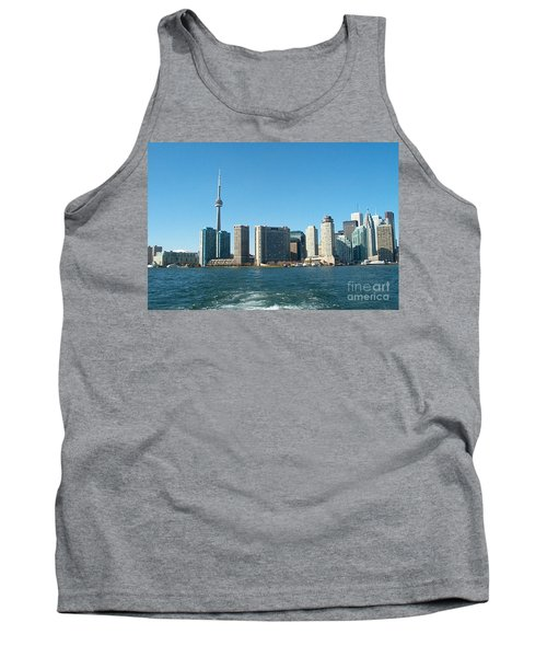 Cn Tower Toronto View From Centre Island Downtown Panorama Improvised With Graphic Artist Tools Pain Tank Top