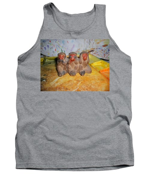3 Wise Monkeys Watercolor Pallet Tank Top