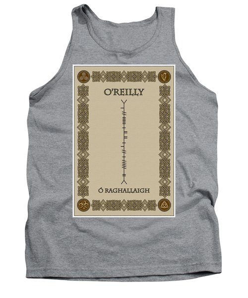 Tank Top featuring the digital art O'reilly Written In Ogham by Ireland Calling