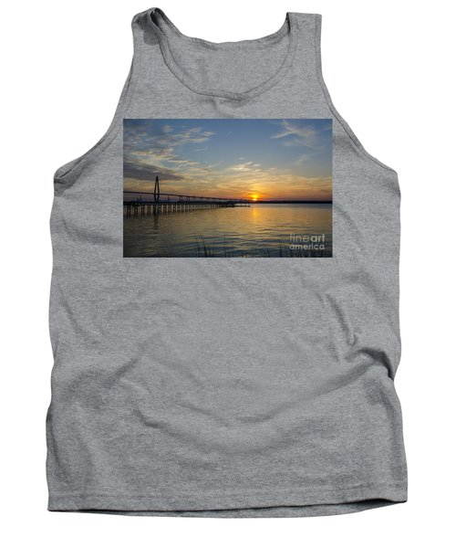 Tank Top featuring the photograph Arthur Ravenel Bridge Tranquil Sunset by Dale Powell