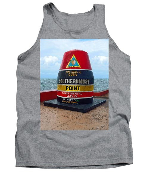 Southernmost Point Key West - 90 Miles To Cuba Tank Top by Rebecca Korpita