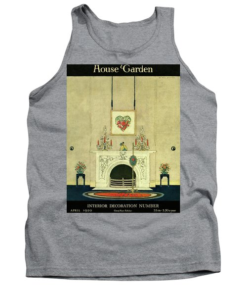 A House And Garden Cover Of A Fireplace Tank Top