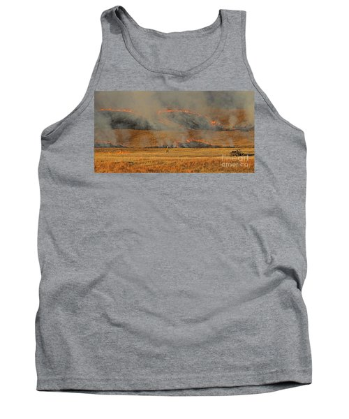 A Lone Firefighter On The Norbeck Prescribed Fire. Tank Top