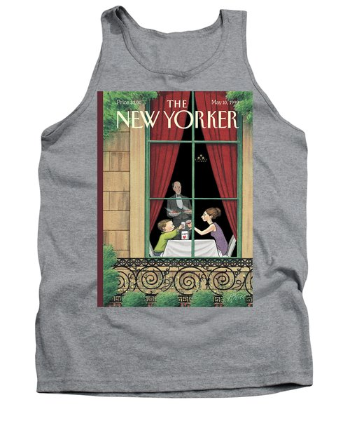 A Mother And Son Enjoy A Meal Together Tank Top