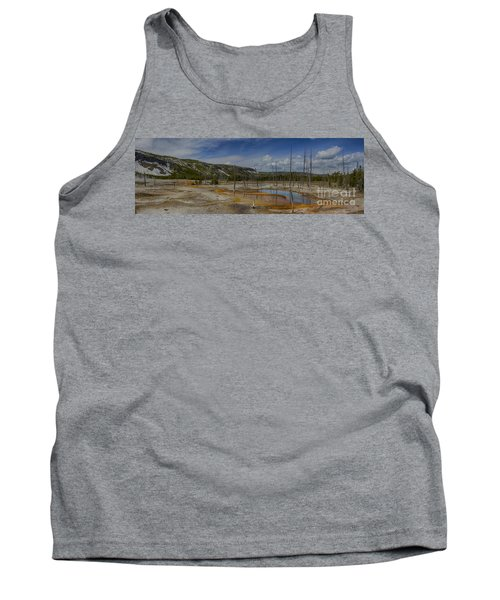A Panoramic View Of  A Yellowstone Geyser Basin Tank Top
