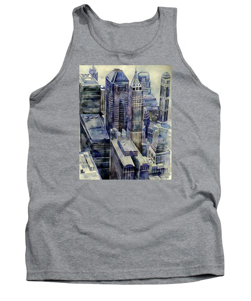 Tank Top featuring the painting Rainy Day In Gotham by Jeffrey S Perrine