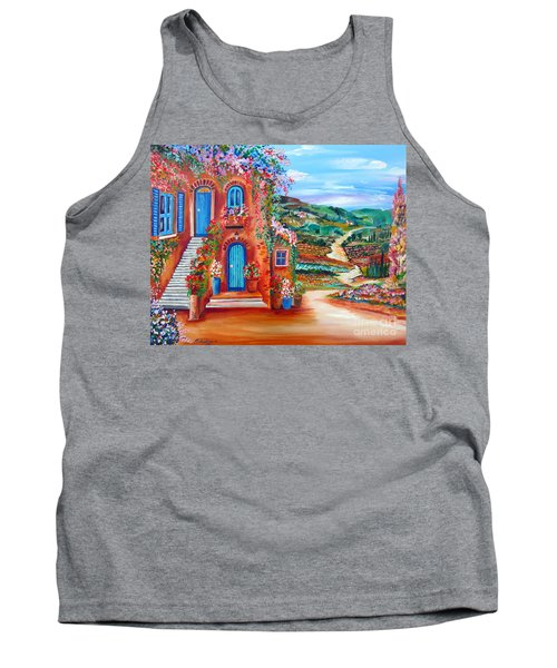 Tank Top featuring the painting A Sunny Day In Chianti Tuscany by Roberto Gagliardi