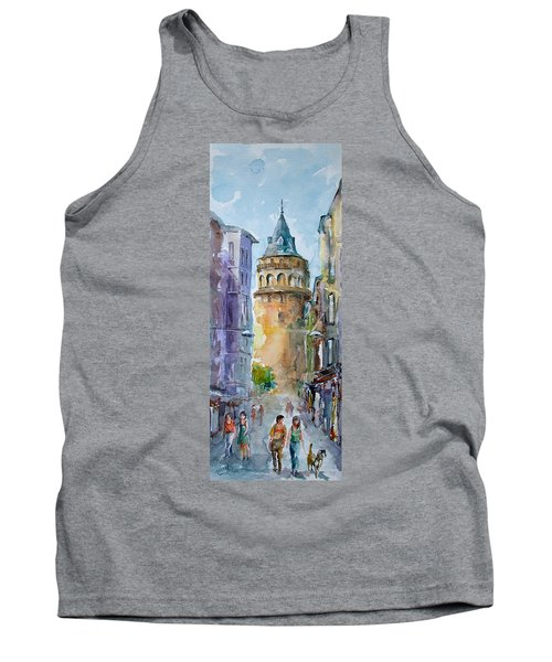 Tank Top featuring the painting A Walk Around Galata Tower - Istanbul by Faruk Koksal
