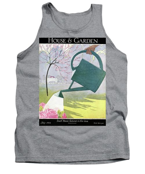 A Watering Can Above Pink Roses Tank Top