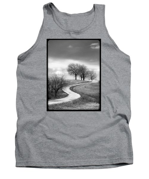 A Winding Country Road In Black And White Tank Top