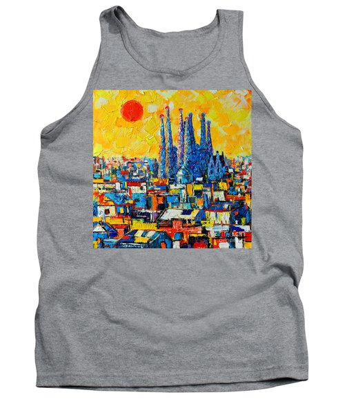 Abstract Sunset Over Sagrada Familia In Barcelona Tank Top by Ana Maria Edulescu