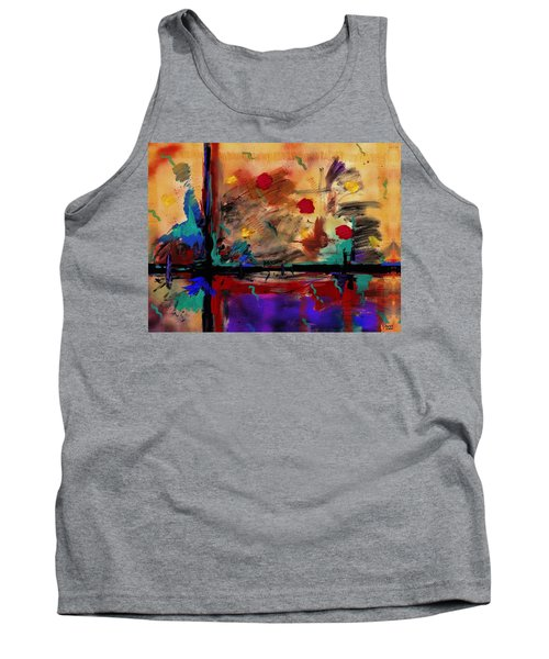 Abstract Yellow Horizontal Tank Top