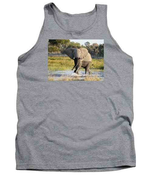 Tank Top featuring the photograph African Elephant Mock-charging by Liz Leyden