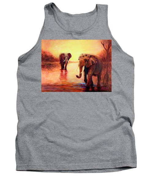 African Elephants At Sunset In The Serengeti Tank Top