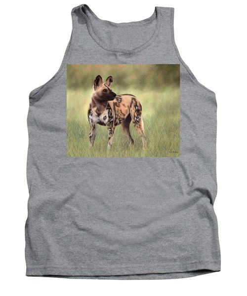 African Wild Dog Painting Tank Top by Rachel Stribbling