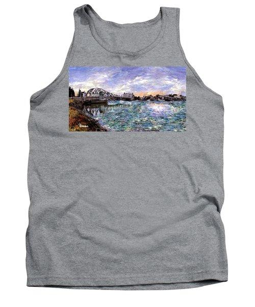 Tank Top featuring the painting Alameda High Street Bridge  by Linda Weinstock