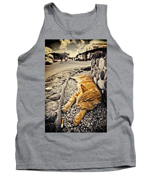 Tank Top featuring the photograph Alley Cat Siesta In Grunge by Meirion Matthias